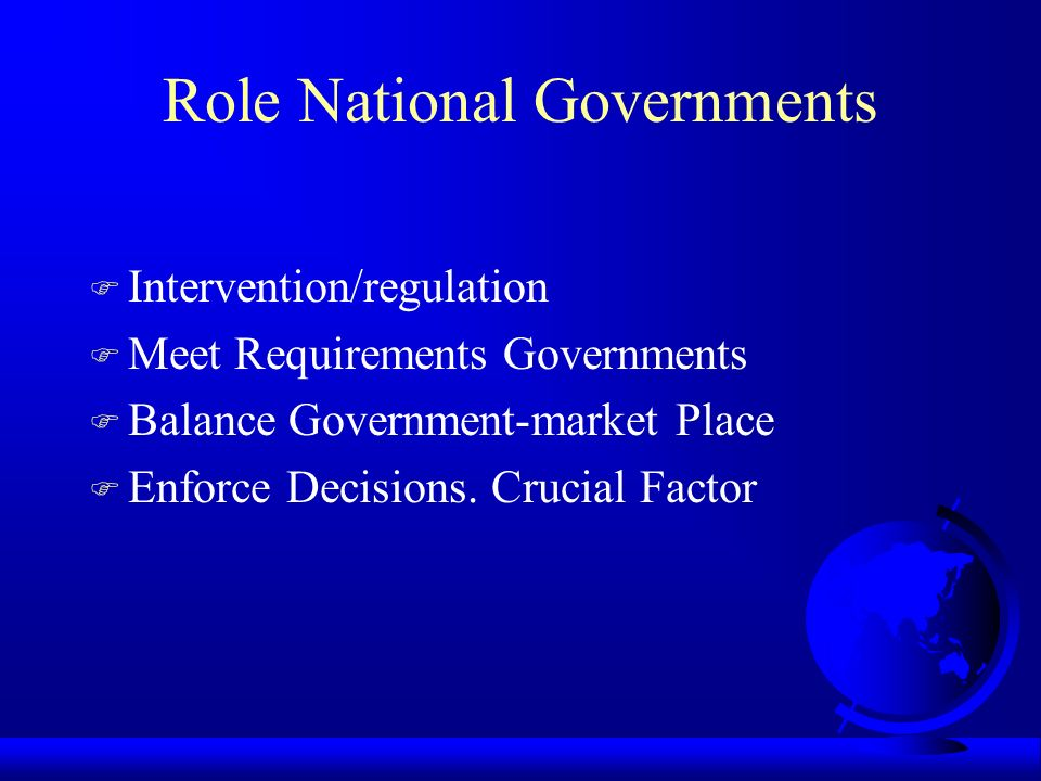 Role National Governments