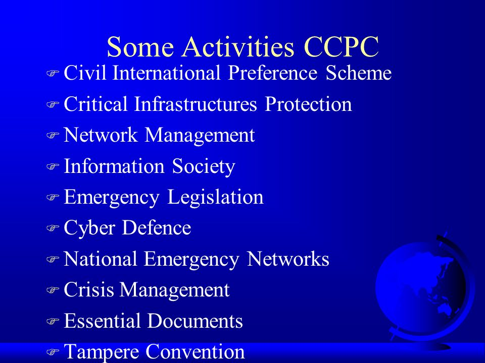 Some Activities CCPC Civil International Preference Scheme