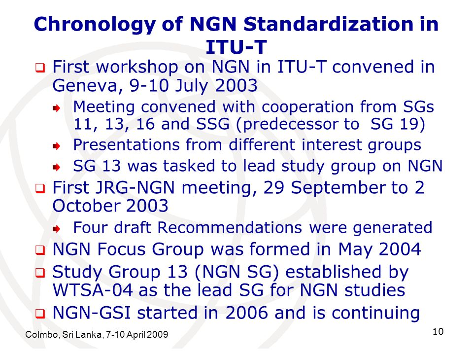 Chronology of NGN Standardization in ITU-T