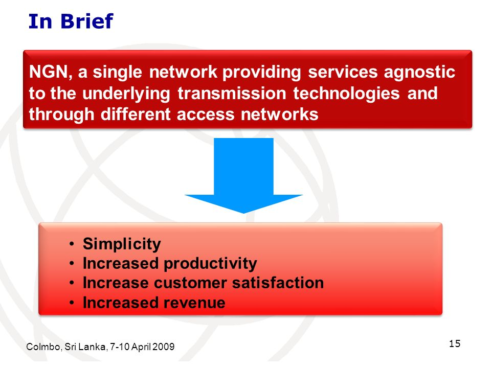 In Brief NGN, a single network providing services agnostic to the underlying transmission technologies and through different access networks.