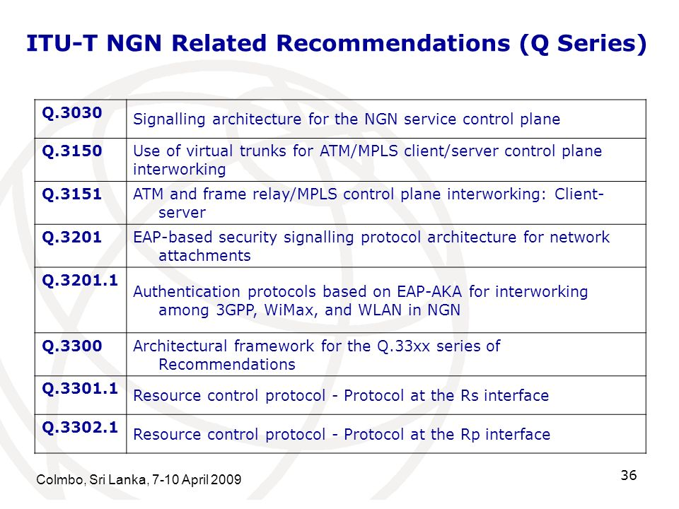 ITU-T NGN Related Recommendations (Q Series)
