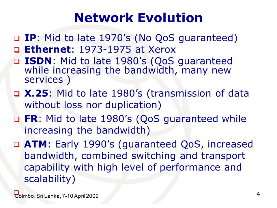 Network Evolution IP: Mid to late 1970's (No QoS guaranteed)