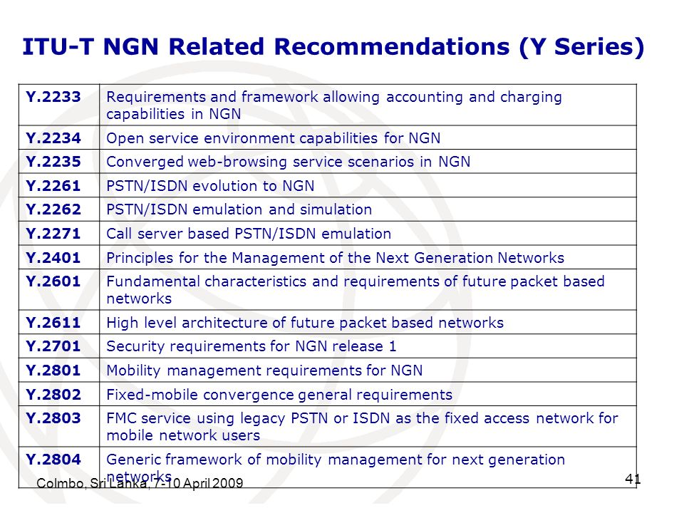 ITU-T NGN Related Recommendations (Y Series)