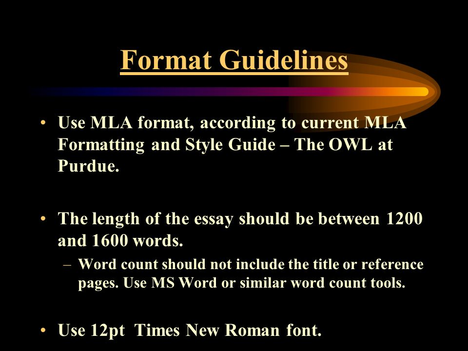 mla and essay format The mla essay format, on the other hand, assumes a typical format that includes the title segment, the body of the essay with necessary subtitles if required and finally the conclusion that will include a work cited page additionally, the essay usually demands that one uses in-text citations in the case.