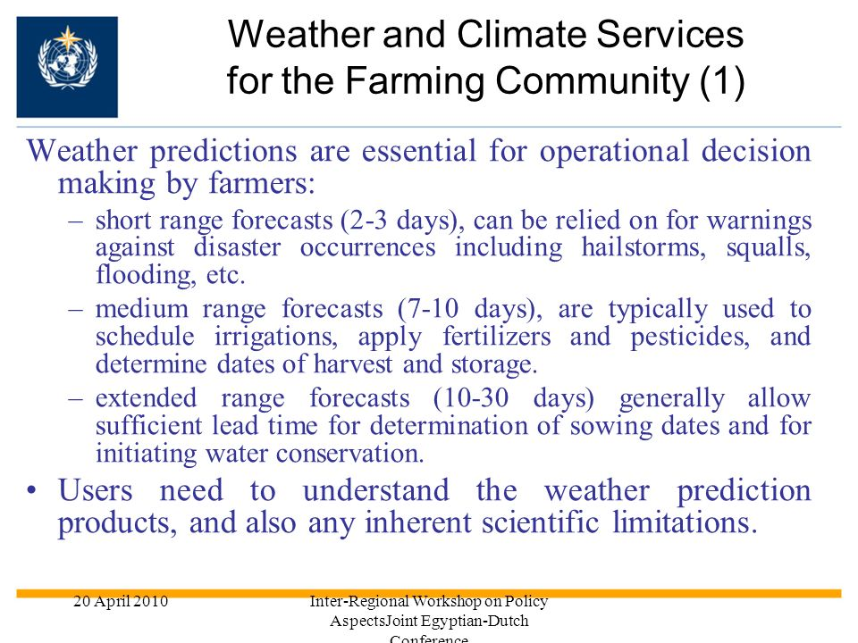 Weather and Climate Services for the Farming Community (1)