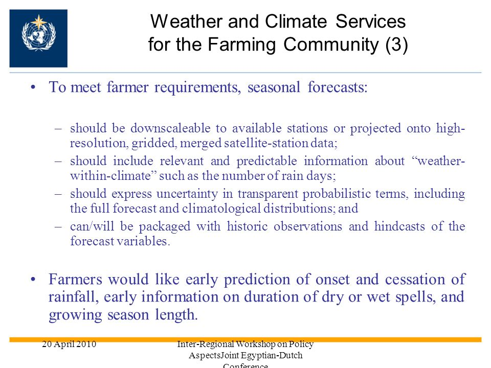 Weather and Climate Services for the Farming Community (3)