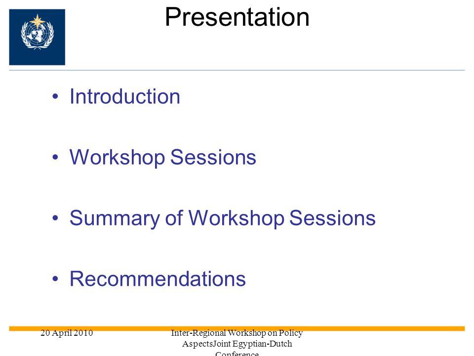 Presentation Introduction Workshop Sessions