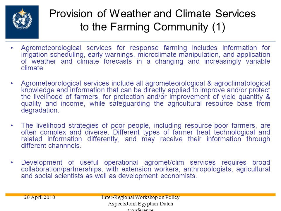 Provision of Weather and Climate Services to the Farming Community (1)