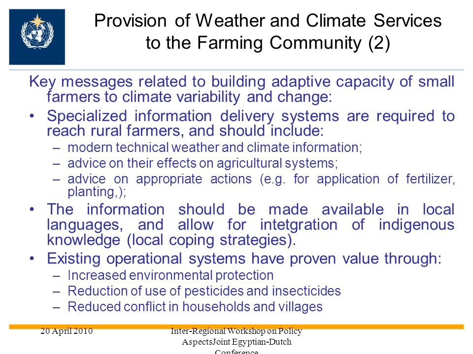 Provision of Weather and Climate Services to the Farming Community (2)