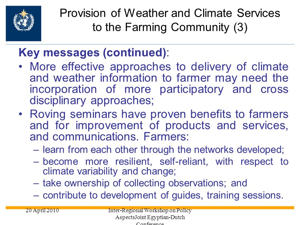 Provision of Weather and Climate Services to the Farming Community (3)