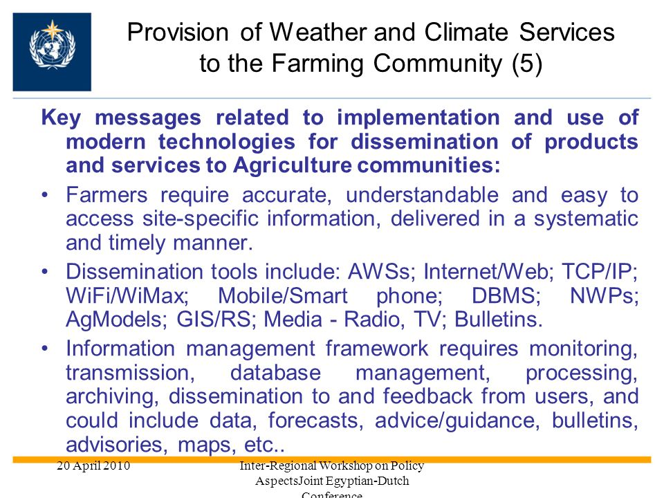 Provision of Weather and Climate Services to the Farming Community (5)