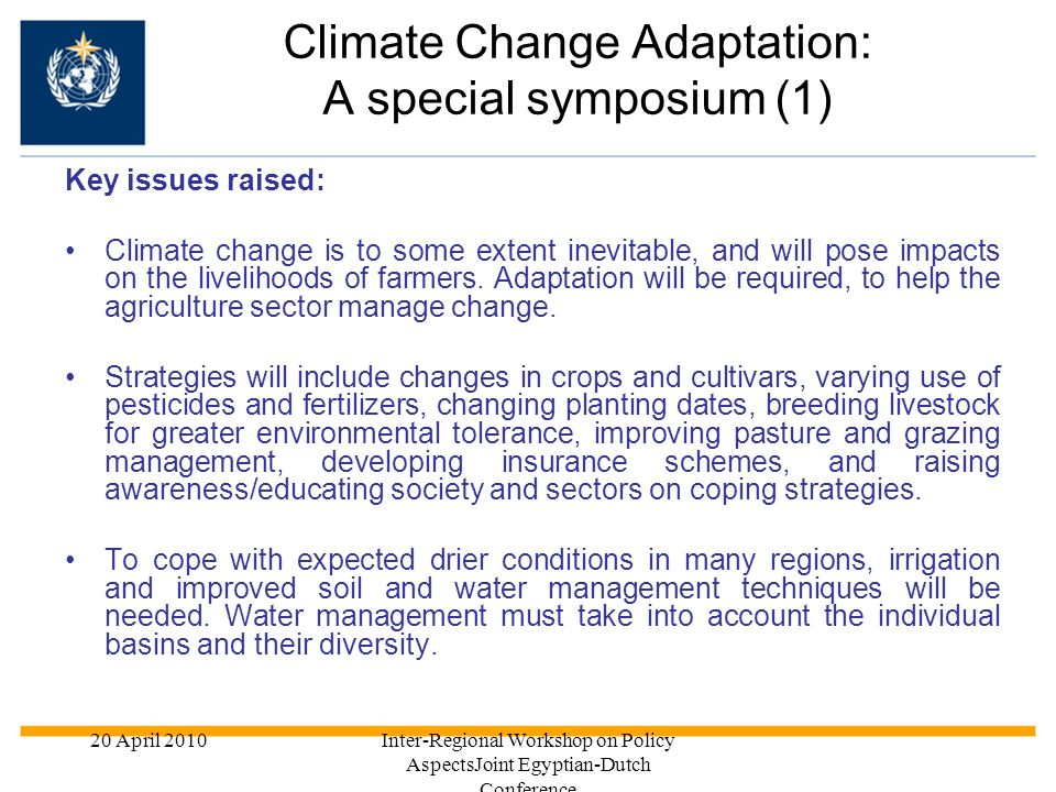 Climate Change Adaptation: A special symposium (1)