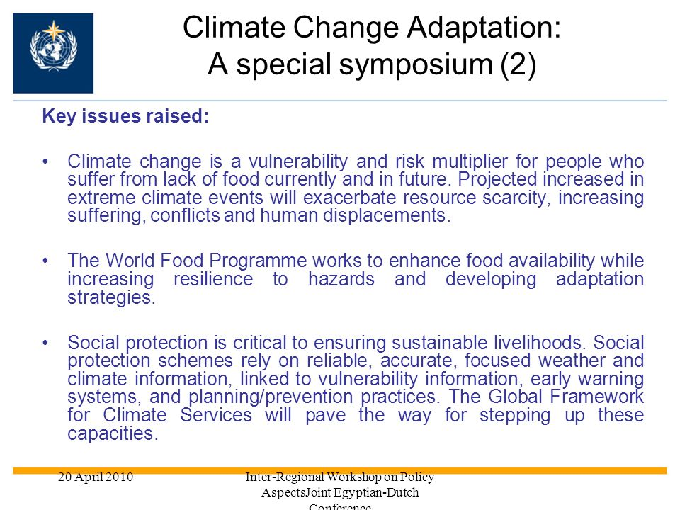 Climate Change Adaptation: A special symposium (2)