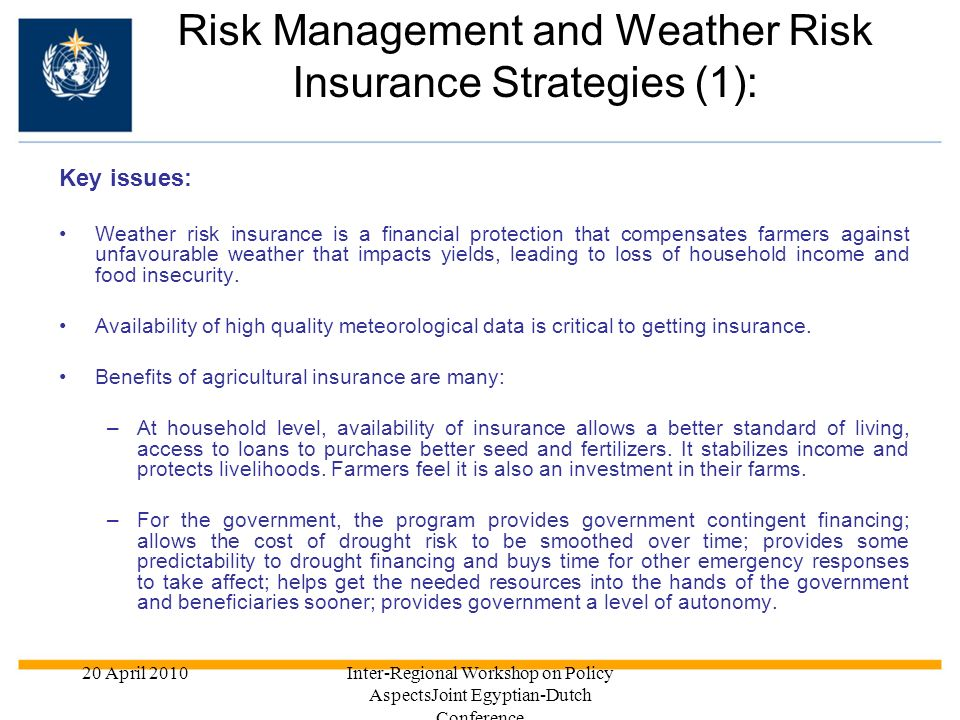 Risk Management and Weather Risk Insurance Strategies (1):