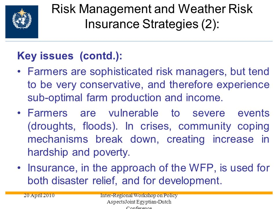 Risk Management and Weather Risk Insurance Strategies (2):