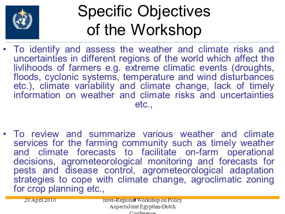Specific Objectives of the Workshop