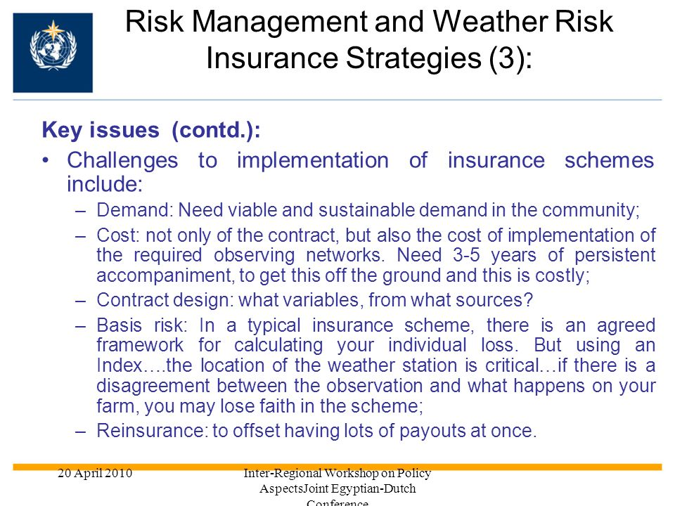 Risk Management and Weather Risk Insurance Strategies (3):