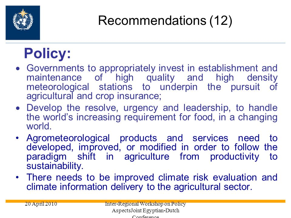 Policy: Recommendations (12)