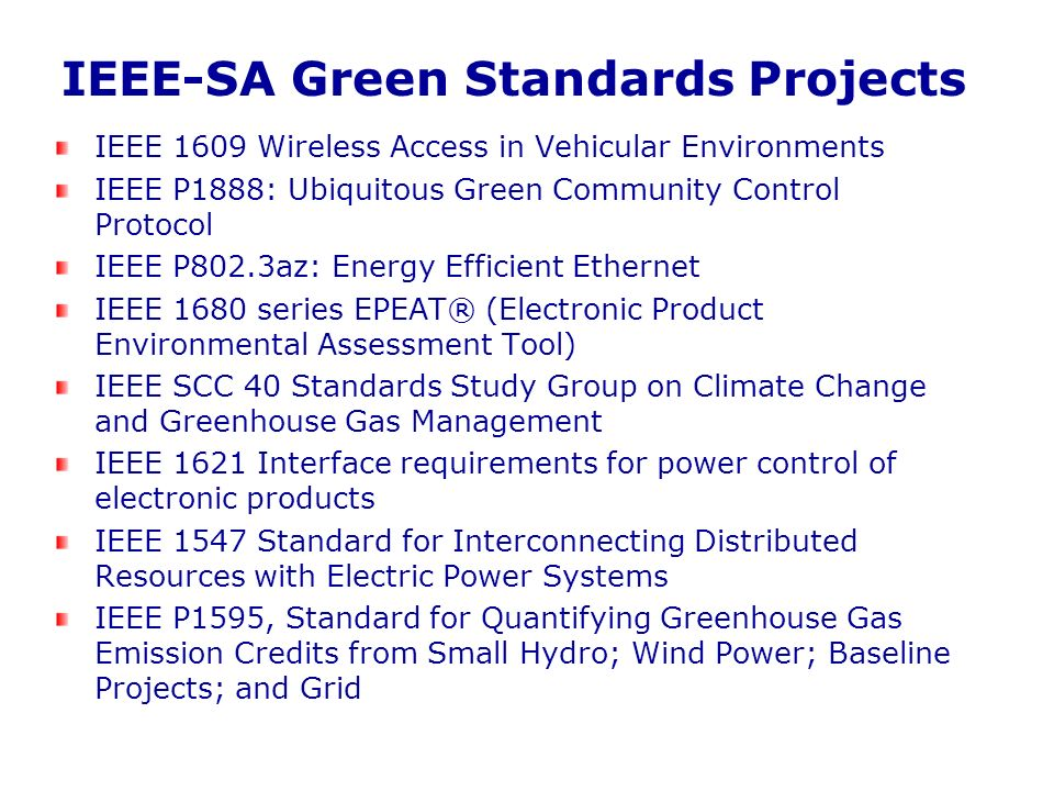 IEEE-SA Green Standards Projects