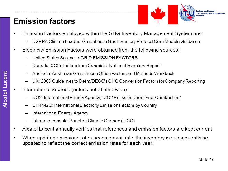 Emission factors Alcatel Lucent
