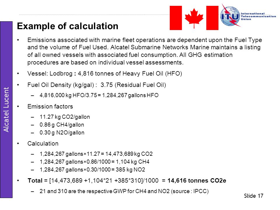 Example of calculation