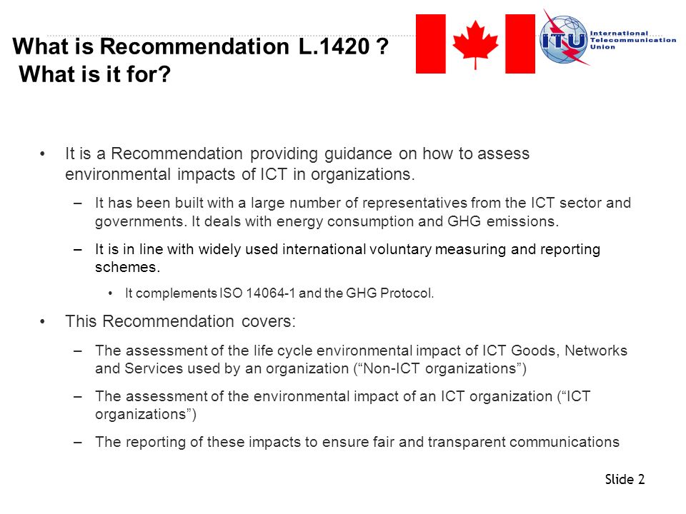 What is Recommendation L.1420 What is it for