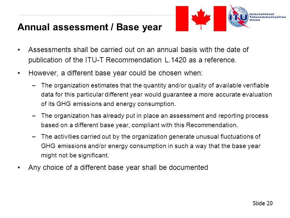 Annual assessment / Base year