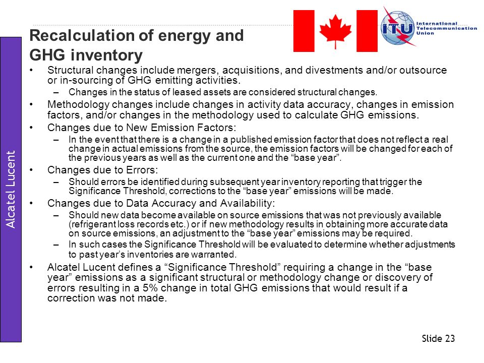 Recalculation of energy and GHG inventory