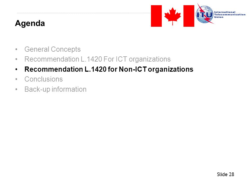 Agenda General Concepts Recommendation L.1420 For ICT organizations