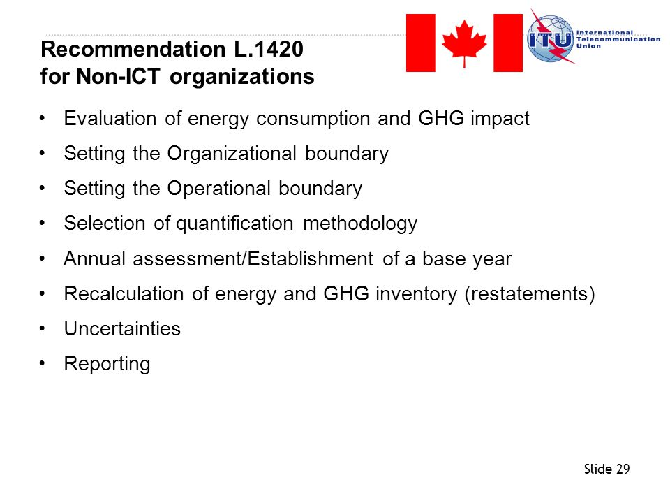 Recommendation L.1420 for Non-ICT organizations