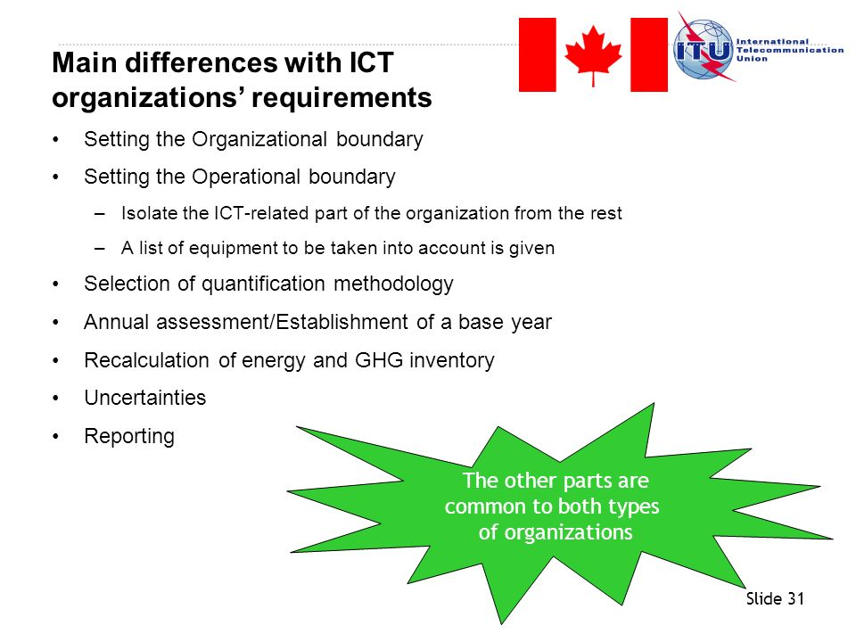 Main differences with ICT organizations' requirements