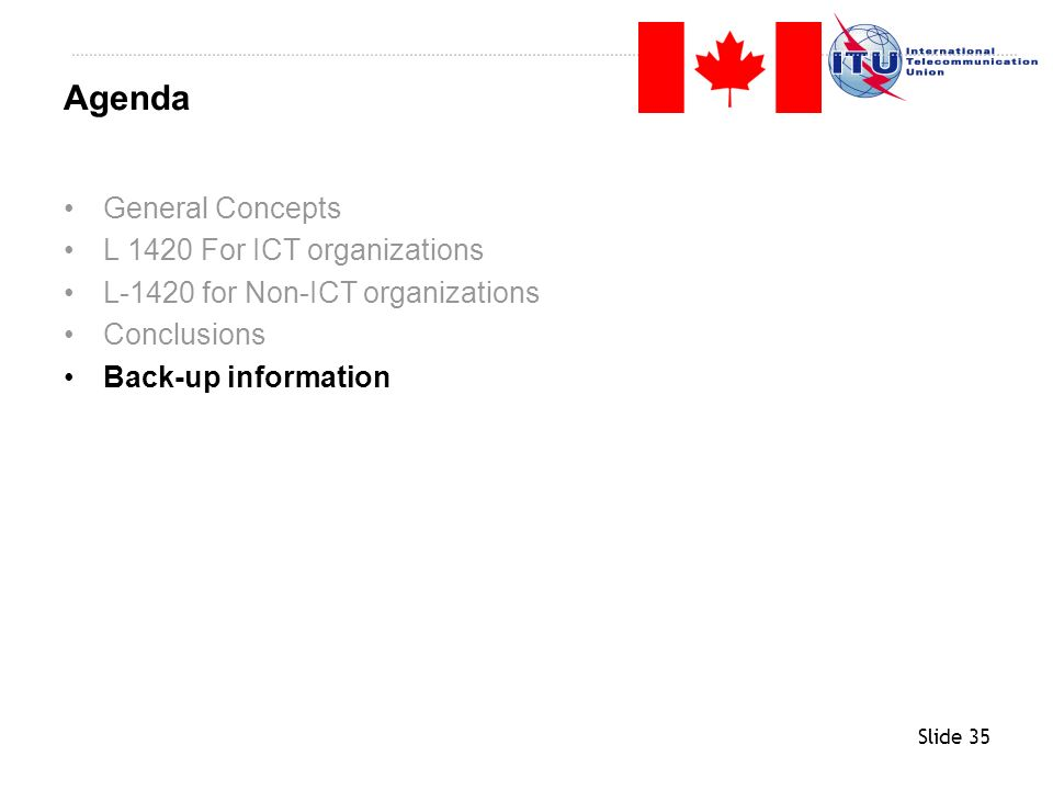 Agenda General Concepts L 1420 For ICT organizations