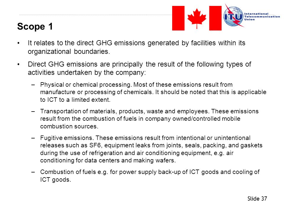 Scope 1 It relates to the direct GHG emissions generated by facilities within its organizational boundaries.