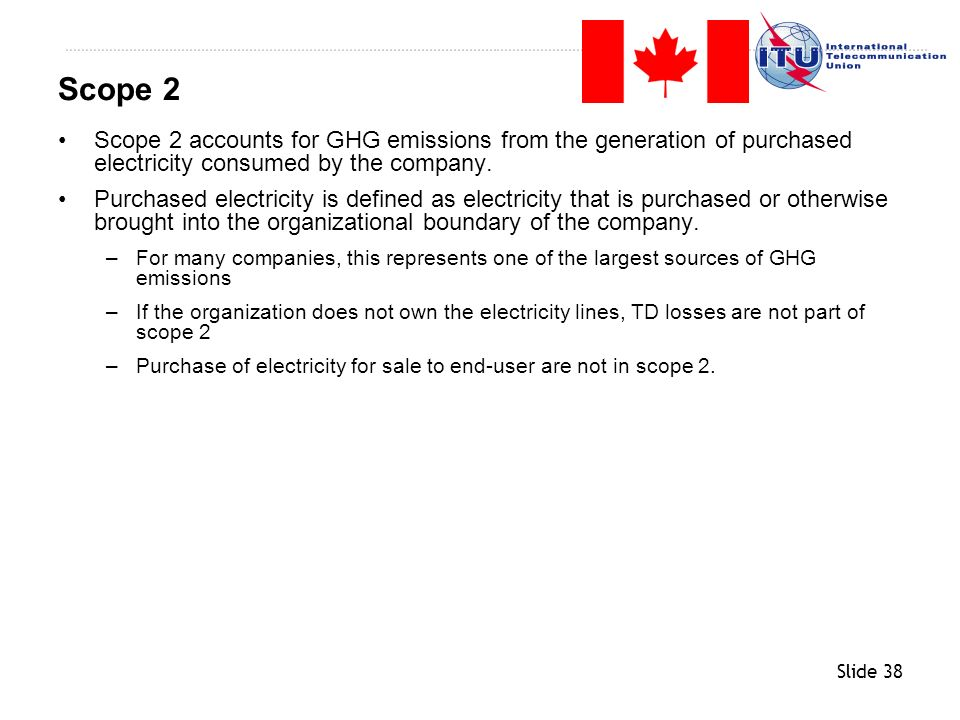 Scope 2 Scope 2 accounts for GHG emissions from the generation of purchased electricity consumed by the company.