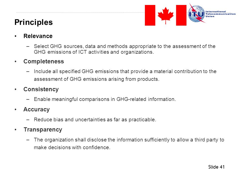 Principles Relevance Completeness Consistency Accuracy Transparency