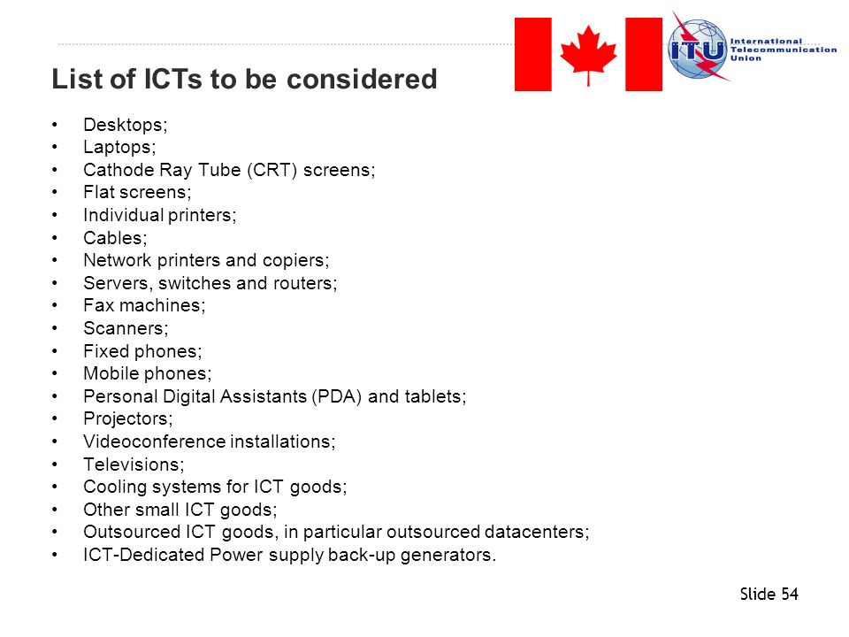 List of ICTs to be considered