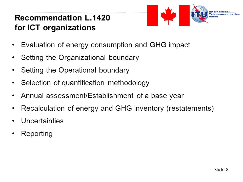 Recommendation L.1420 for ICT organizations