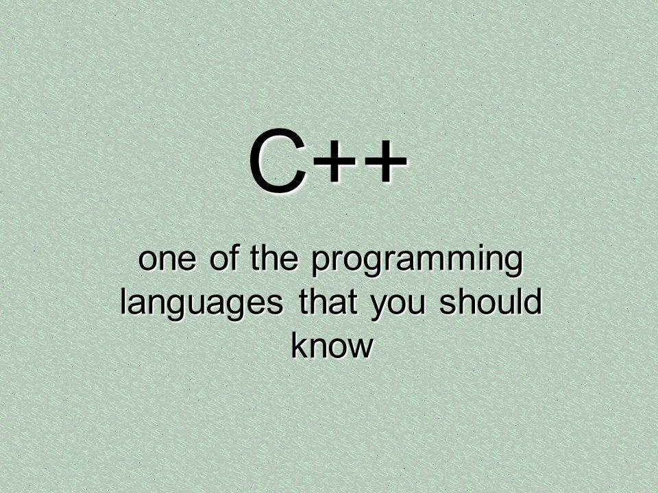one of the programming languages that you should know