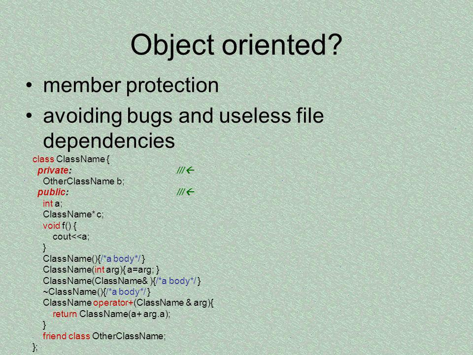 Object oriented member protection
