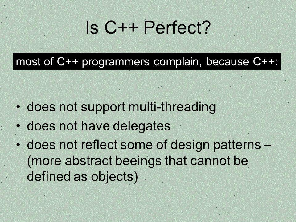 Is C++ Perfect does not support multi-threading