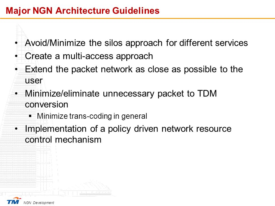 Major NGN Architecture Guidelines