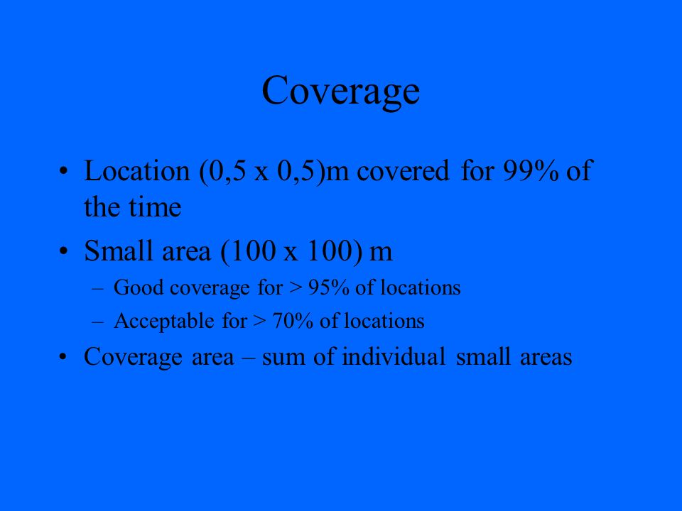 Coverage Location (0,5 x 0,5)m covered for 99% of the time