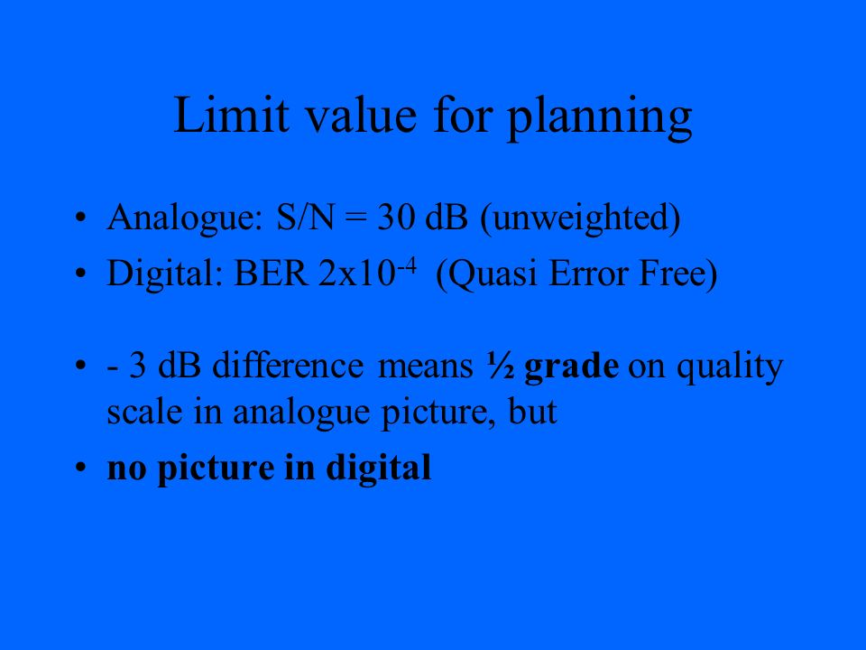 Limit value for planning