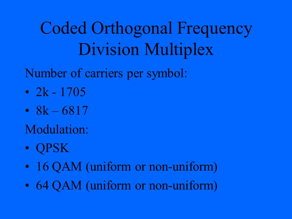 Coded Orthogonal Frequency Division Multiplex