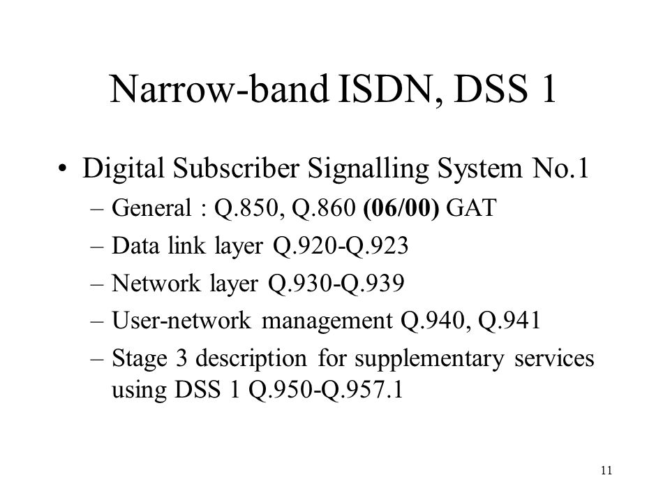Narrow-band ISDN, DSS 1 Digital Subscriber Signalling System No.1