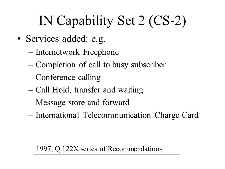 IN Capability Set 2 (CS-2)