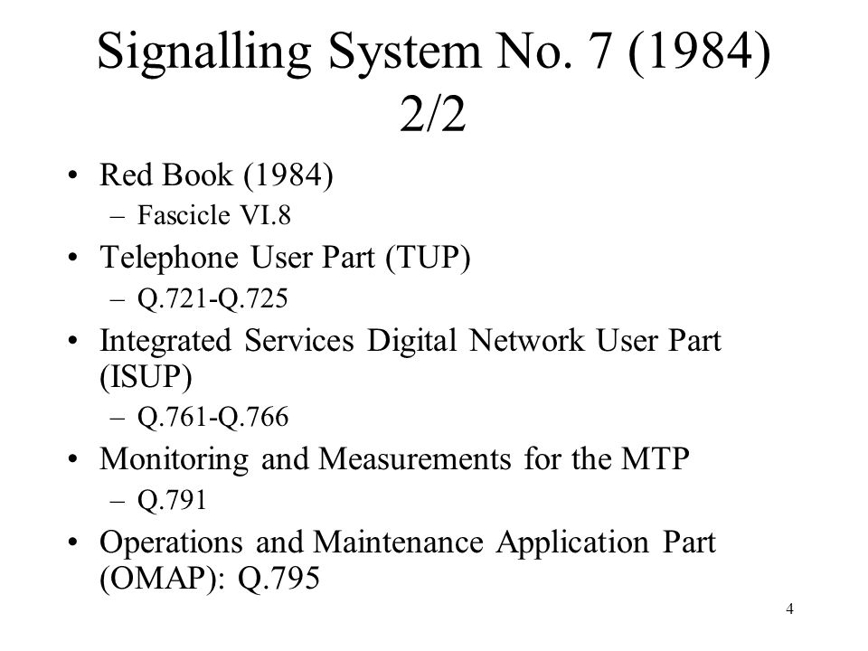 Signalling System No. 7 (1984) 2/2