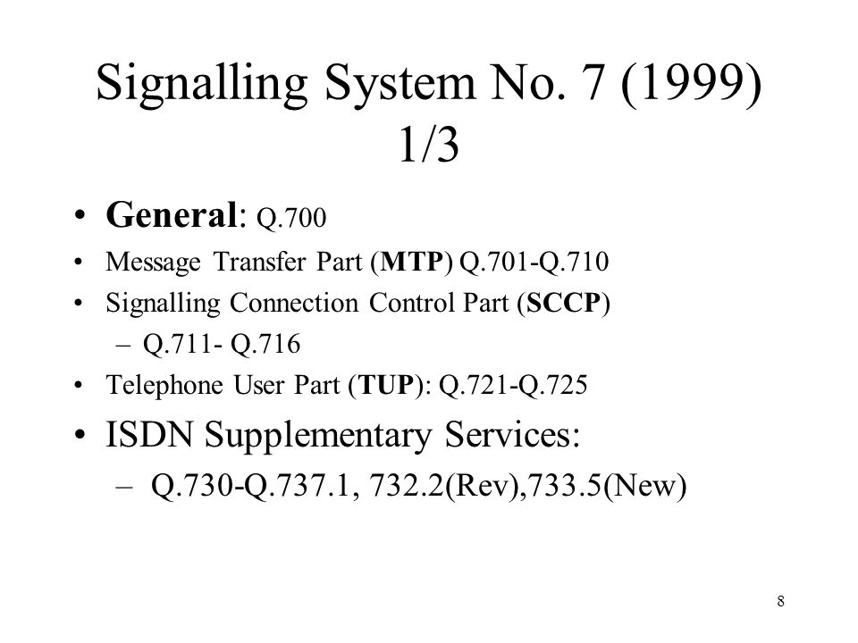 Signalling System No. 7 (1999) 1/3