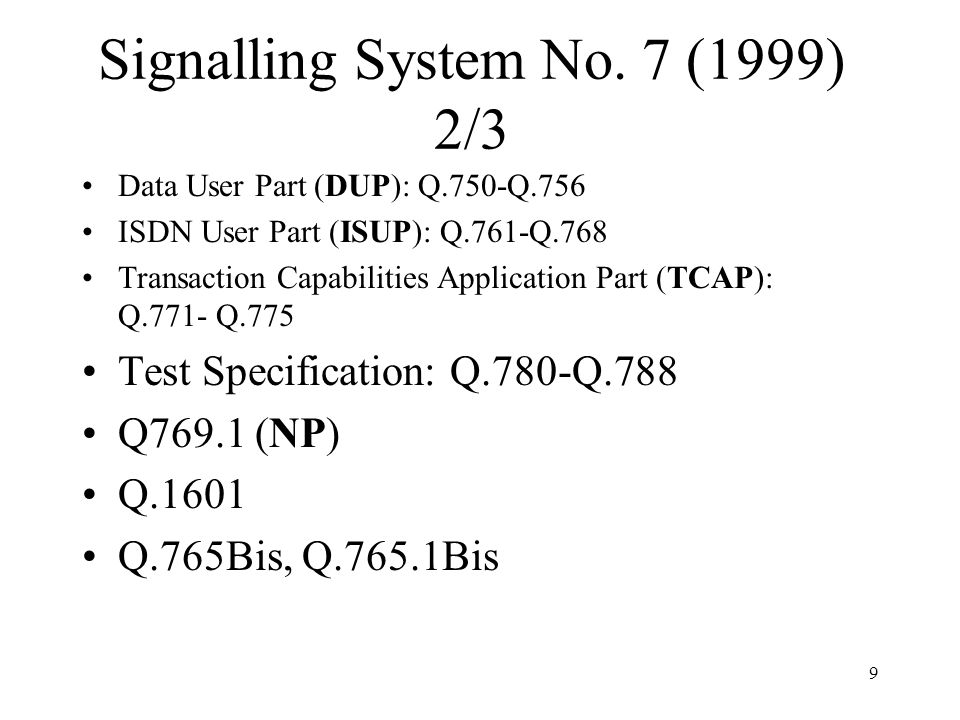 Signalling System No. 7 (1999) 2/3
