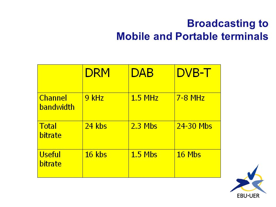Broadcasting to Mobile and Portable terminals